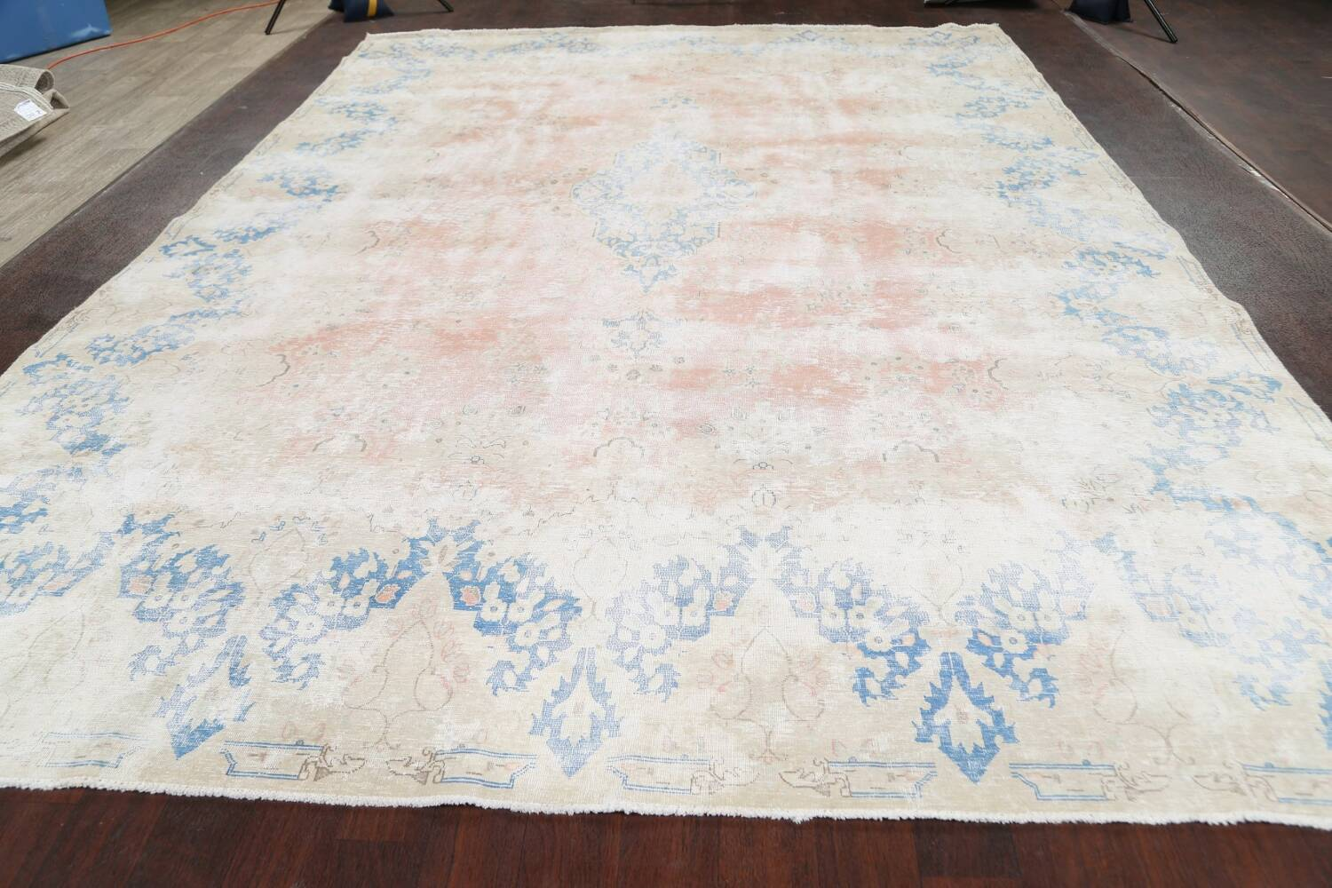 Antique Muted Distressed Kerman Persian Area Rug 10x13 image 15