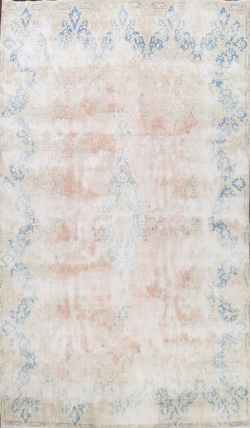 Antique Muted Distressed Kerman Persian Area Rug 10x13 image 1