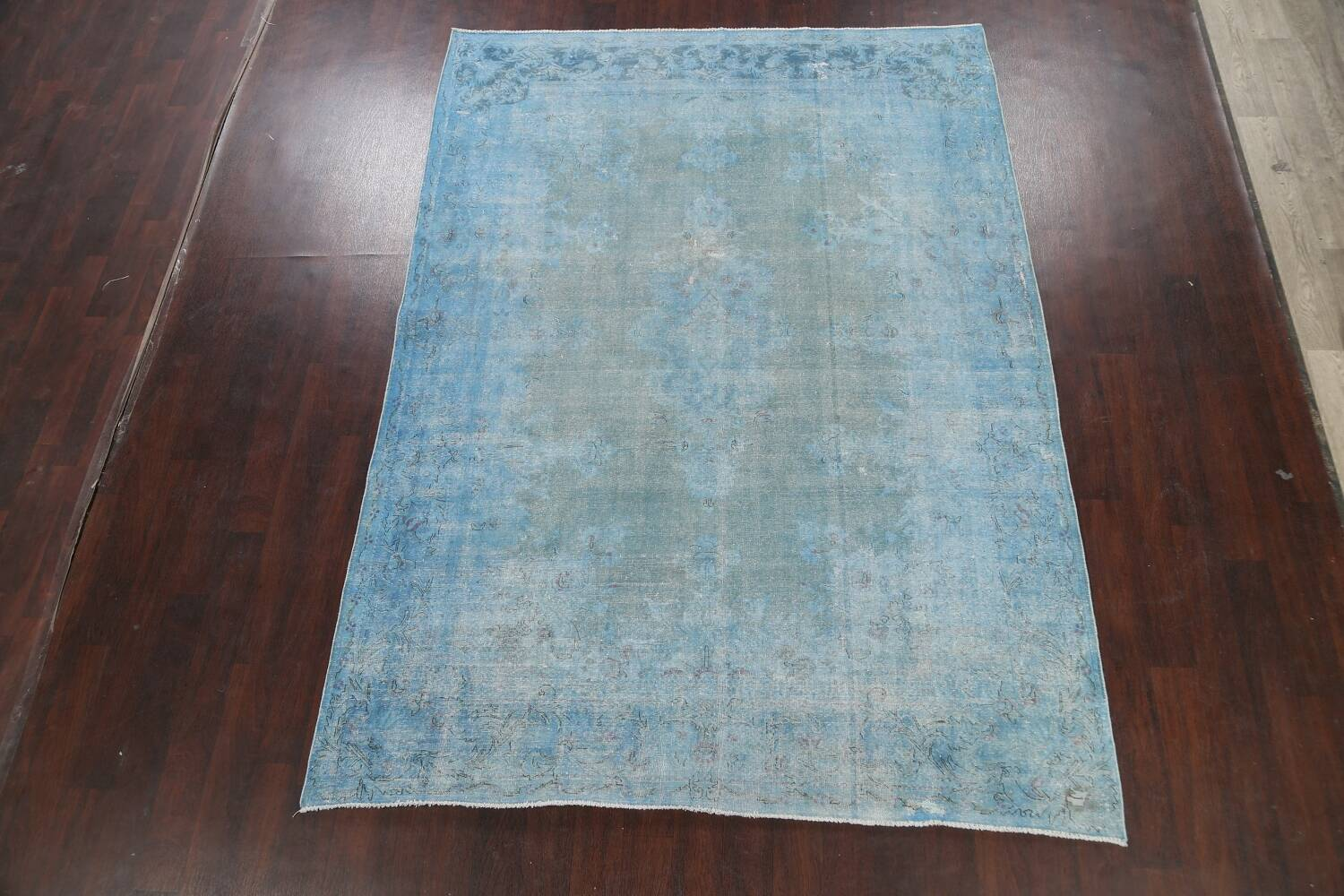 Distressed Over-dye Antique Kerman Persian Area Rug 7x9 image 2
