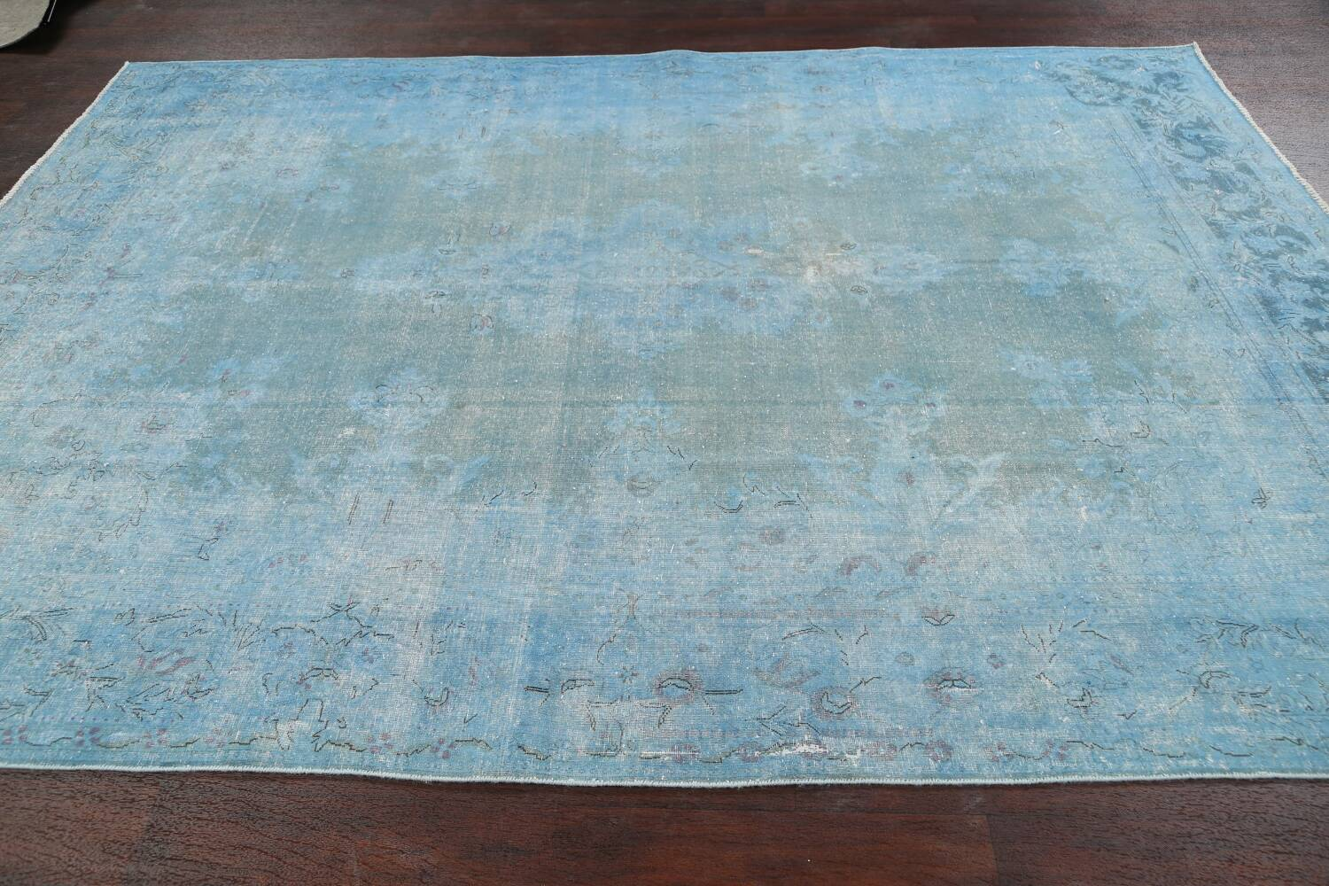 Distressed Over-dye Antique Kerman Persian Area Rug 7x9 image 13
