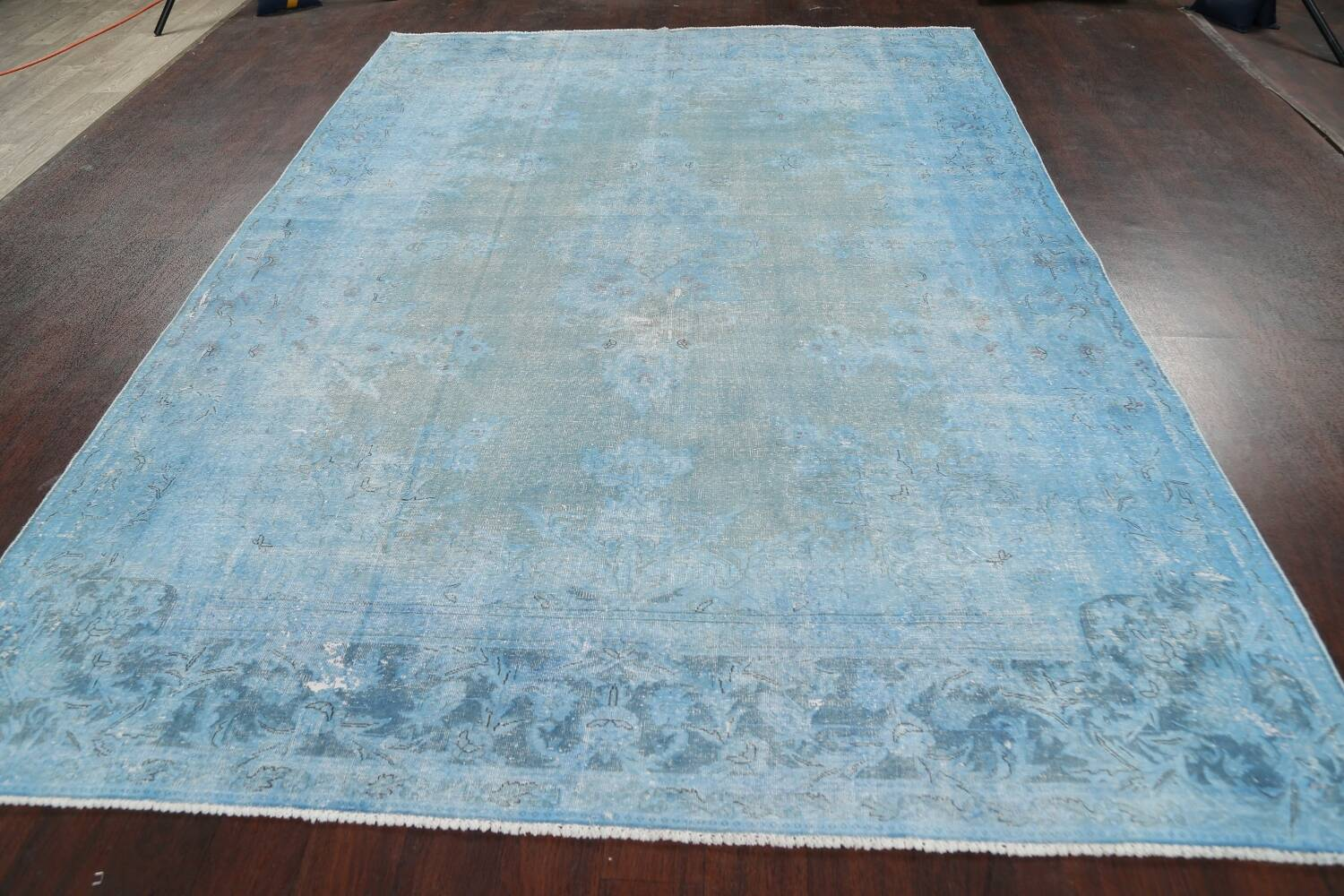 Distressed Over-dye Antique Kerman Persian Area Rug 7x9 image 14