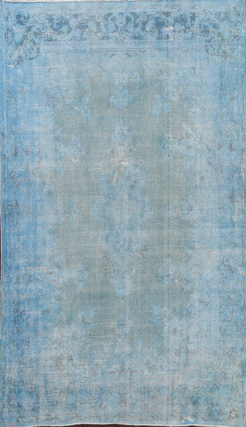 Distressed Over-dye Antique Kerman Persian Area Rug 7x9 image 1