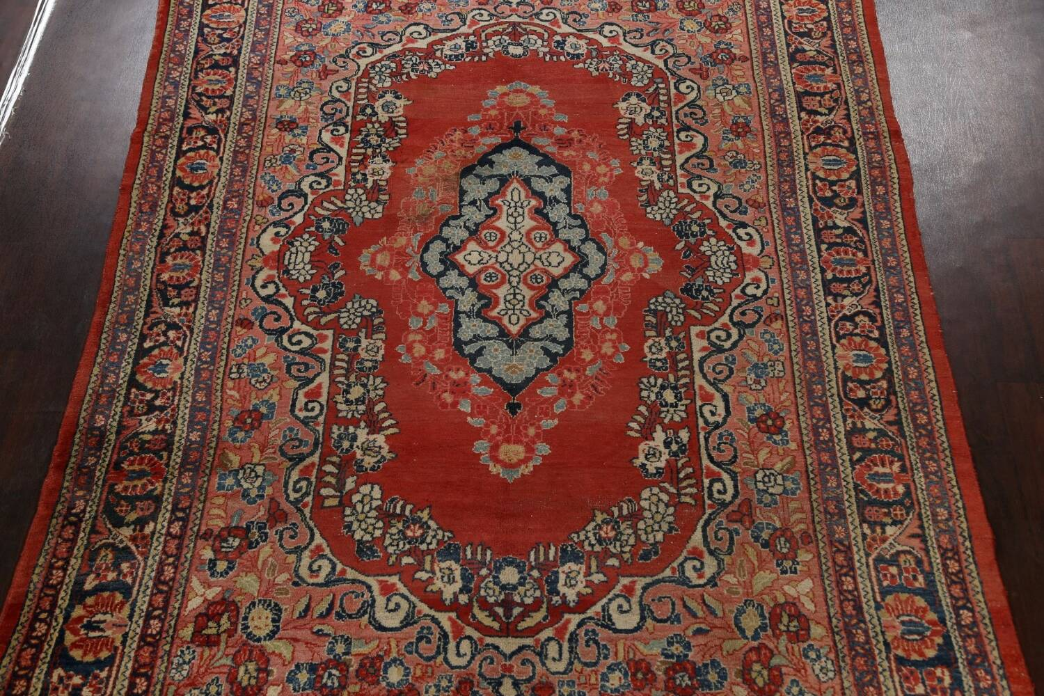 Antique Floral Mahal Persian Area Rug 8x11 image 3