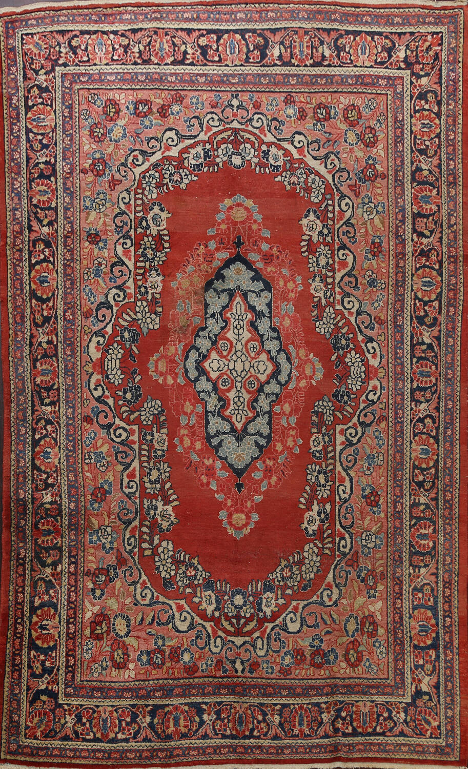 Antique Floral Mahal Persian Area Rug 8x11 image 1