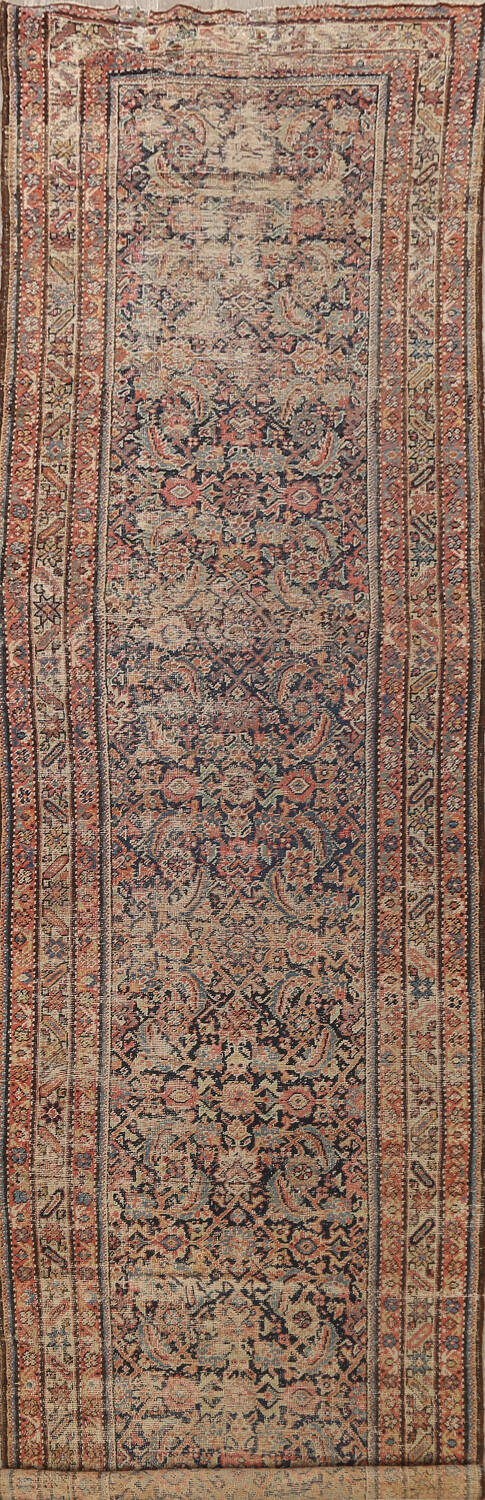 Pre-1900 Antique Sultanabad Persian Runner Rug 3x16 image 1
