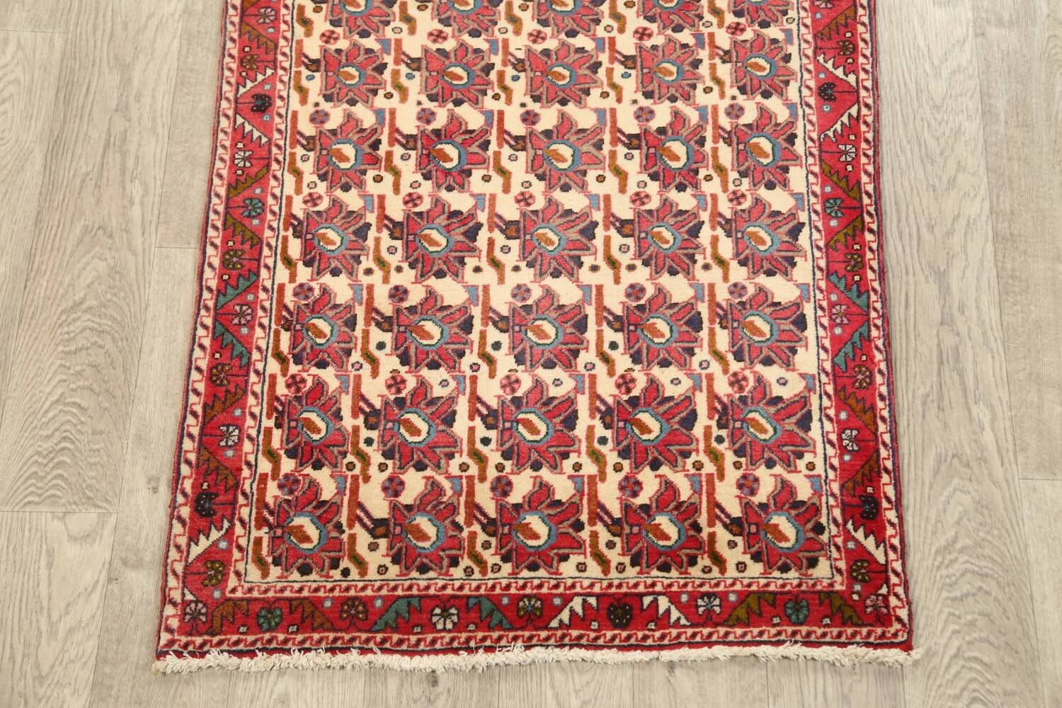 All-Over Geometric Afshar Persian Runner Rug 3x7 image 8