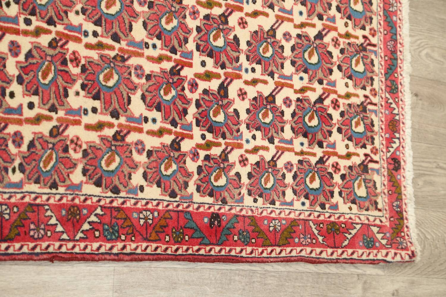All-Over Geometric Afshar Persian Runner Rug 3x7 image 12