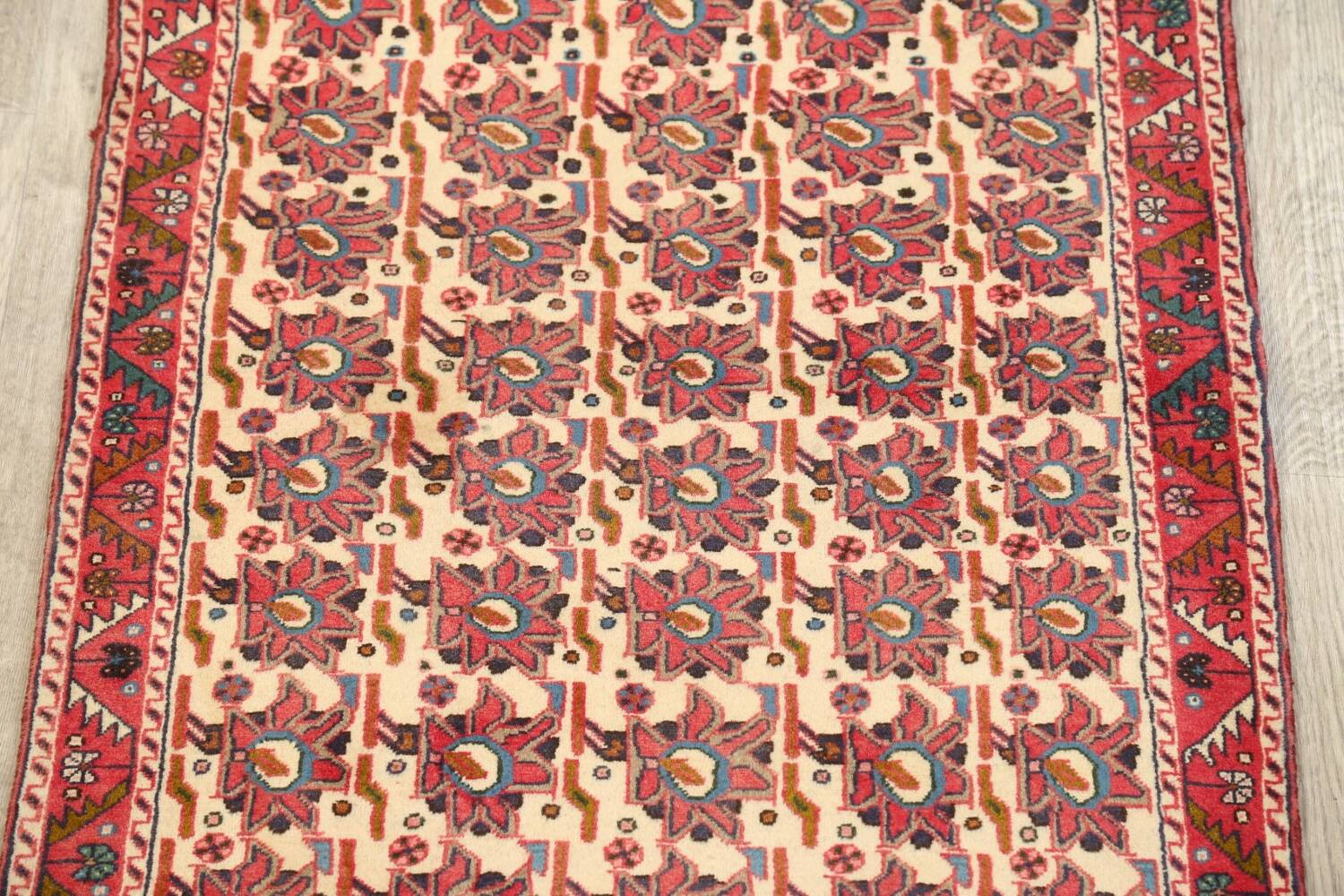 All-Over Geometric Afshar Persian Runner Rug 3x7 image 3
