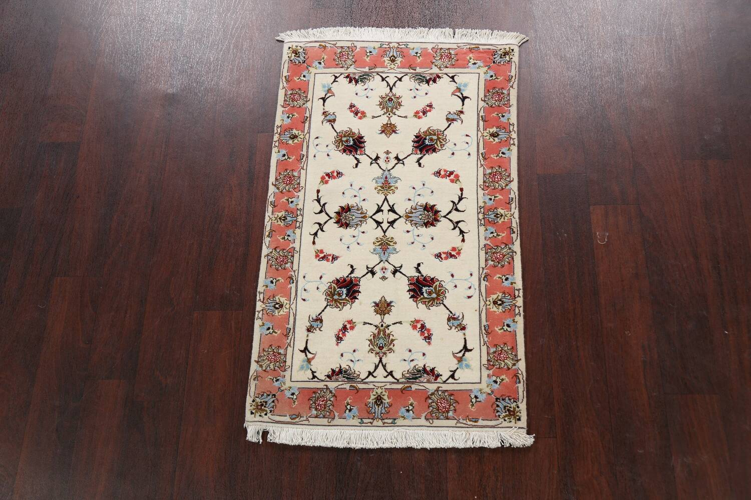 Vegetable Dye Wool/ Silk Floral Tabriz Persian Area Rug 2x4 image 2