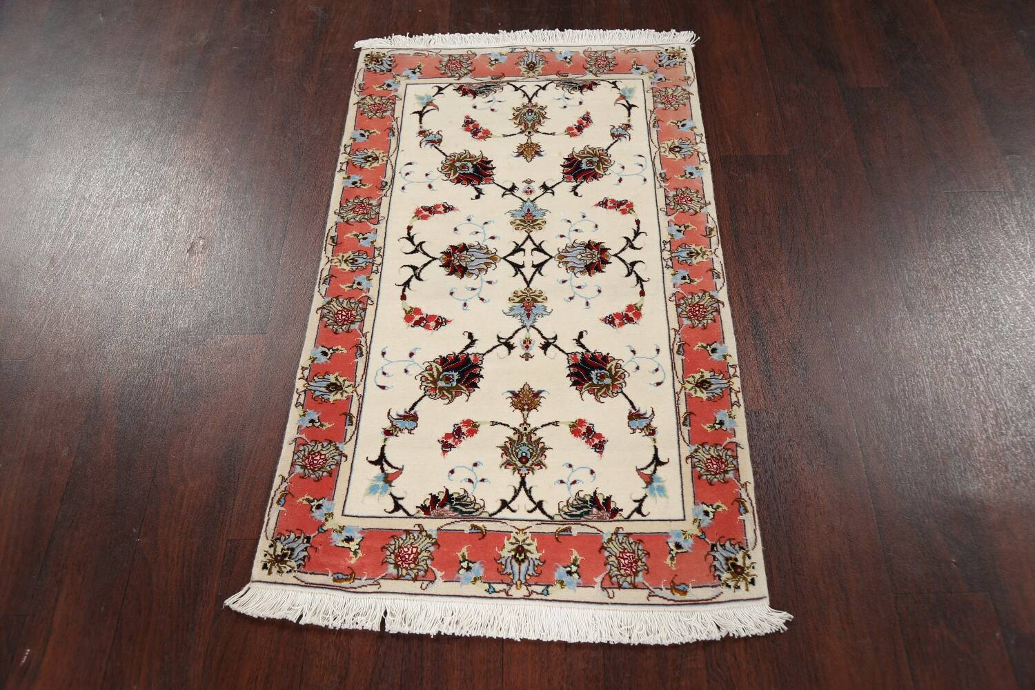 Vegetable Dye Wool/ Silk Floral Tabriz Persian Area Rug 2x4 image 12