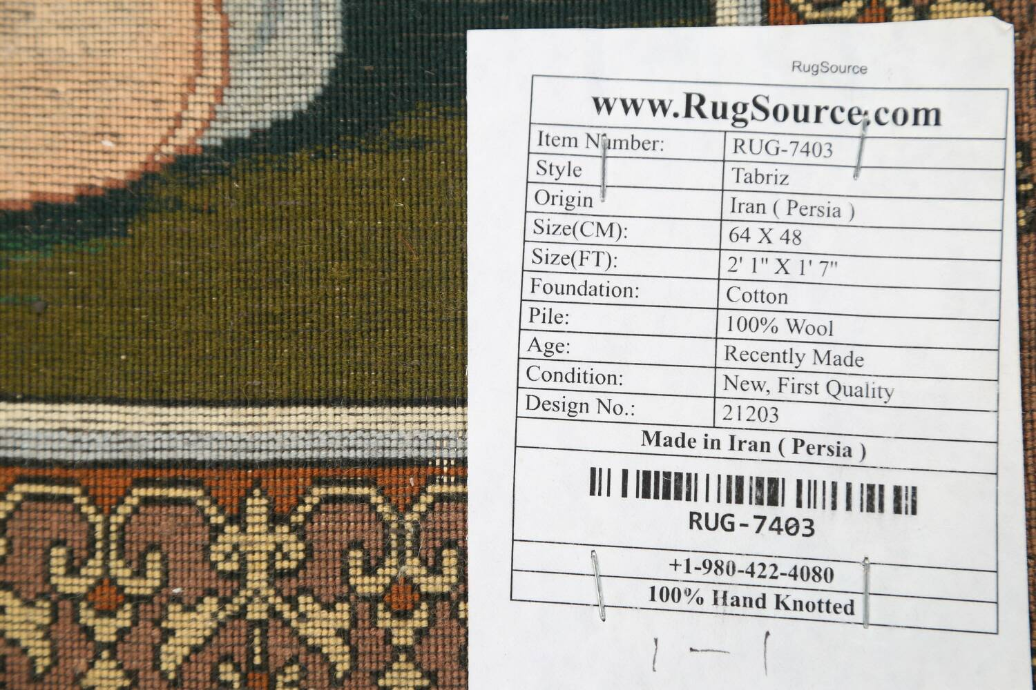 Vegetable Dye Square Pictorial Tabriz Persian Area Rug 2x2 image 16