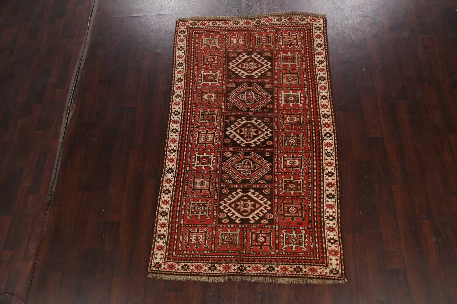 Vegetable Dye Geometric Kazak Oriental Area Rug 5x8 image 2