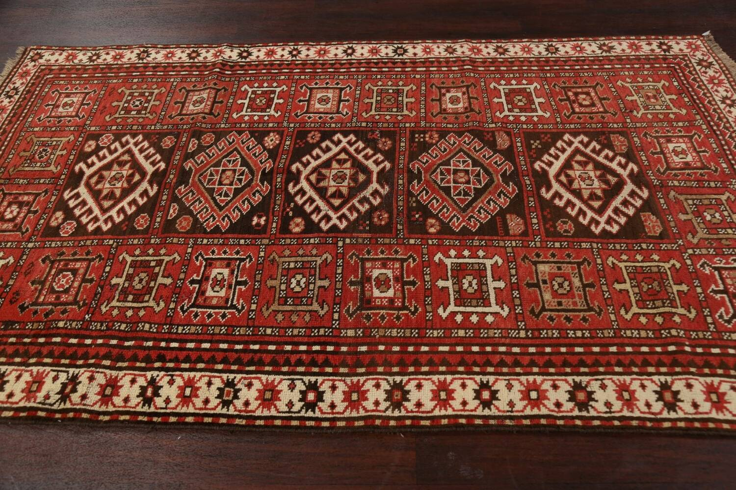 Vegetable Dye Geometric Kazak Oriental Area Rug 5x8 image 15