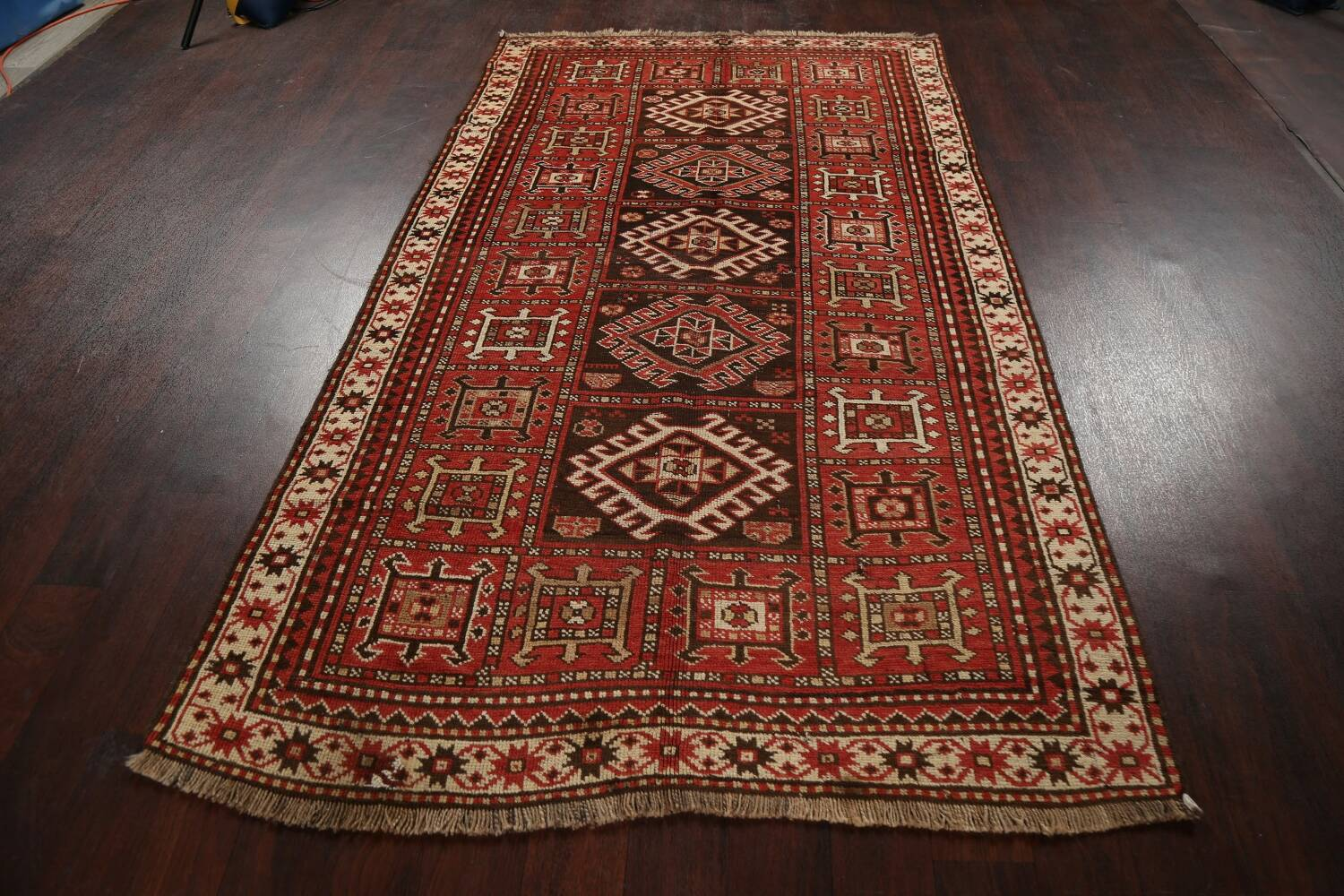 Vegetable Dye Geometric Kazak Oriental Area Rug 5x8 image 16