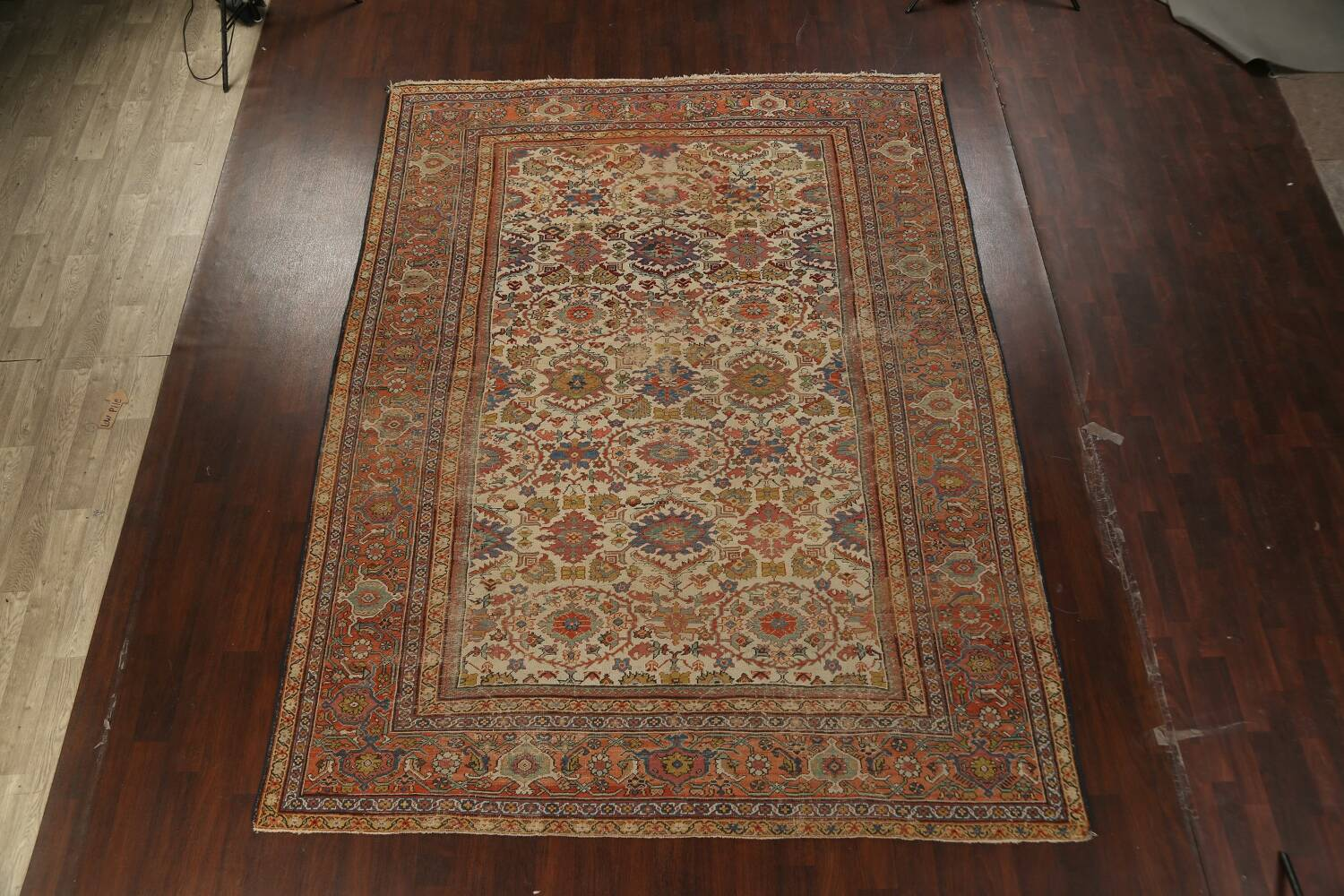 Pre-1900 Antique Vegetable Dye Sultanabad Persian Area Rug 9x12 image 2