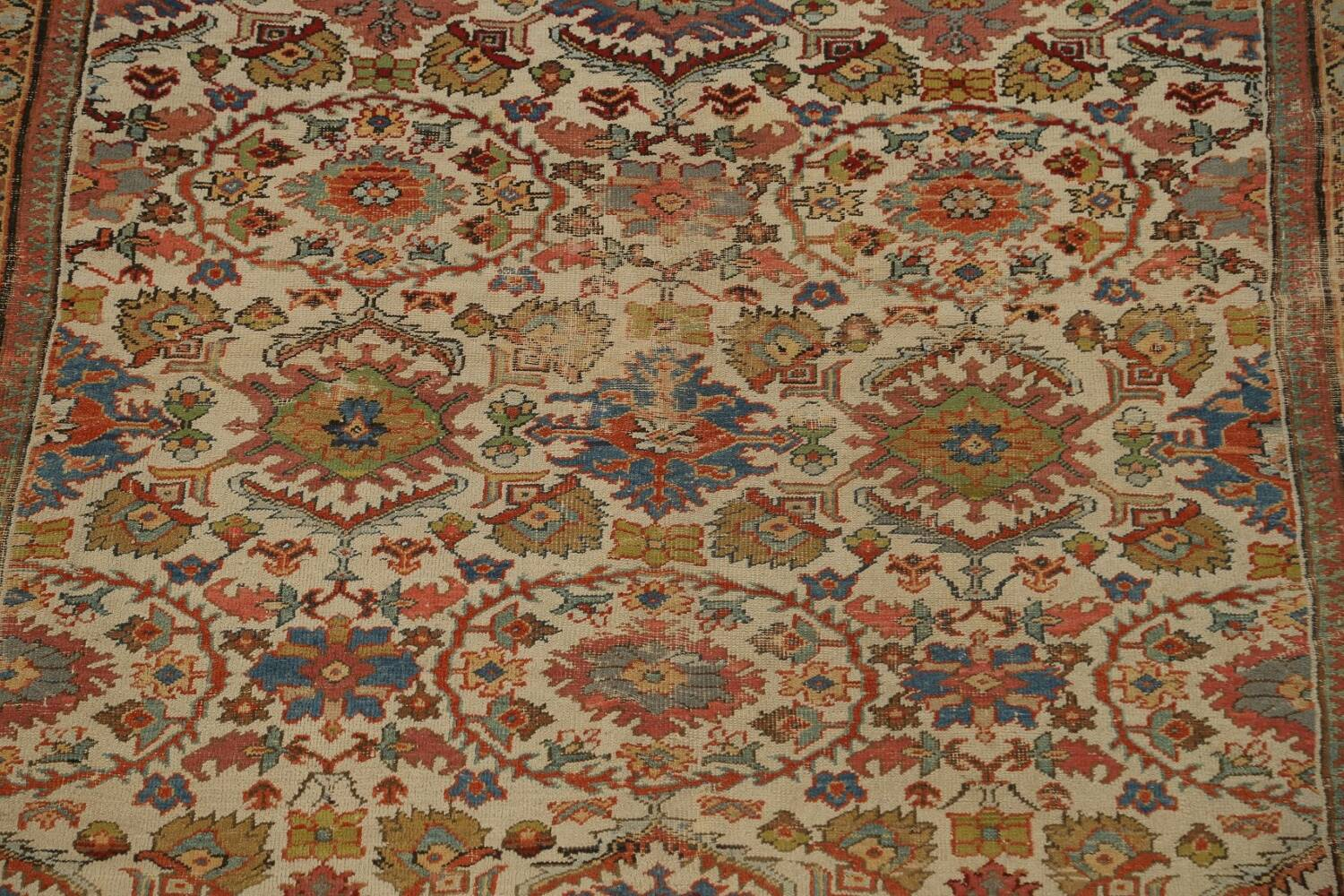 Pre-1900 Antique Vegetable Dye Sultanabad Persian Area Rug 9x12 image 4