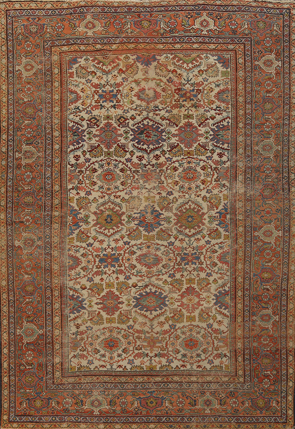 Pre-1900 Antique Vegetable Dye Sultanabad Persian Area Rug 9x12 image 1