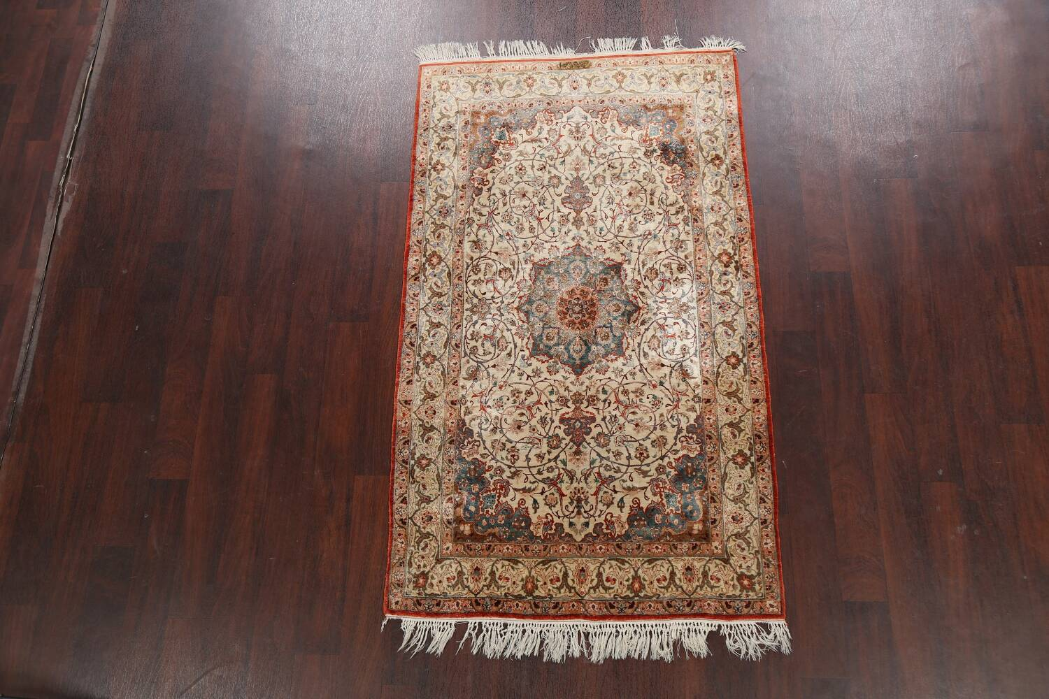 Antique 100% Vegetable Dye Isfahan Persian Area Rug 4x6 image 2