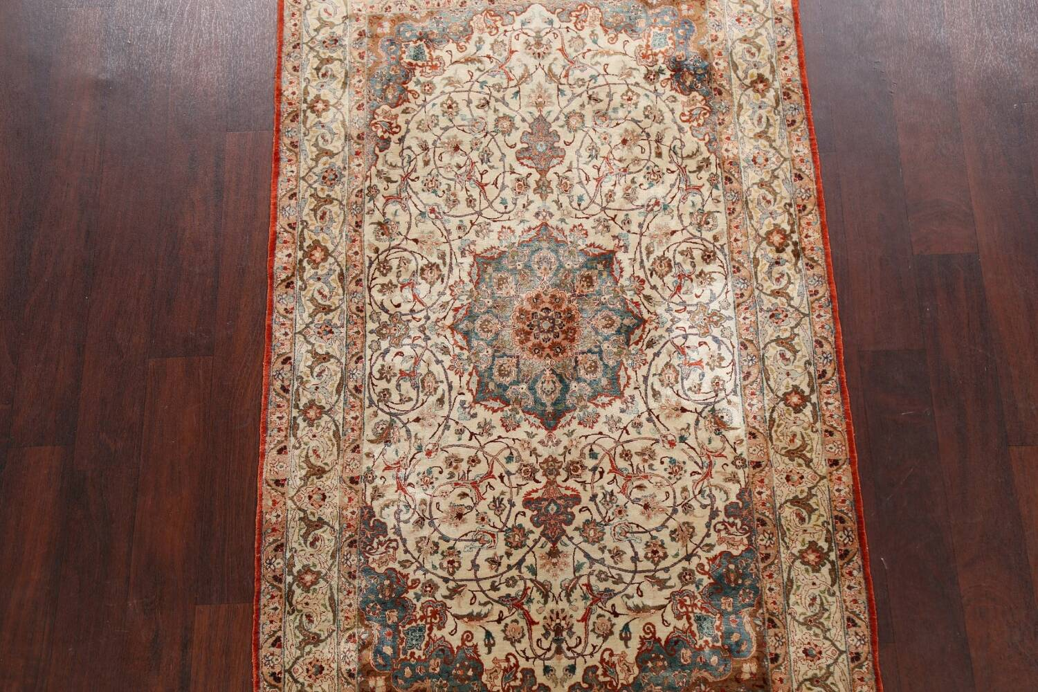 Antique 100% Vegetable Dye Isfahan Persian Area Rug 4x6 image 3