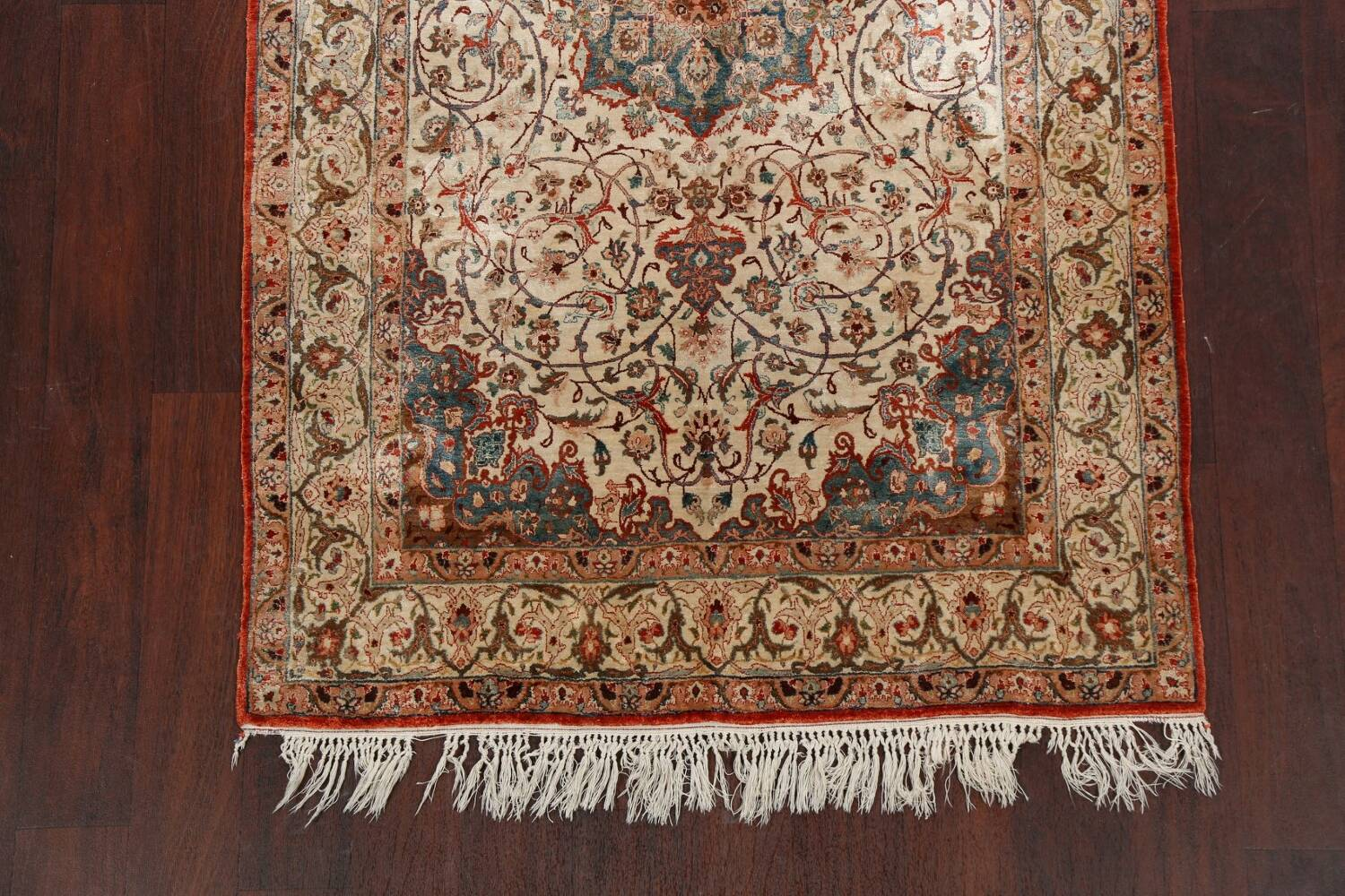 Antique 100% Vegetable Dye Isfahan Persian Area Rug 4x6 image 8