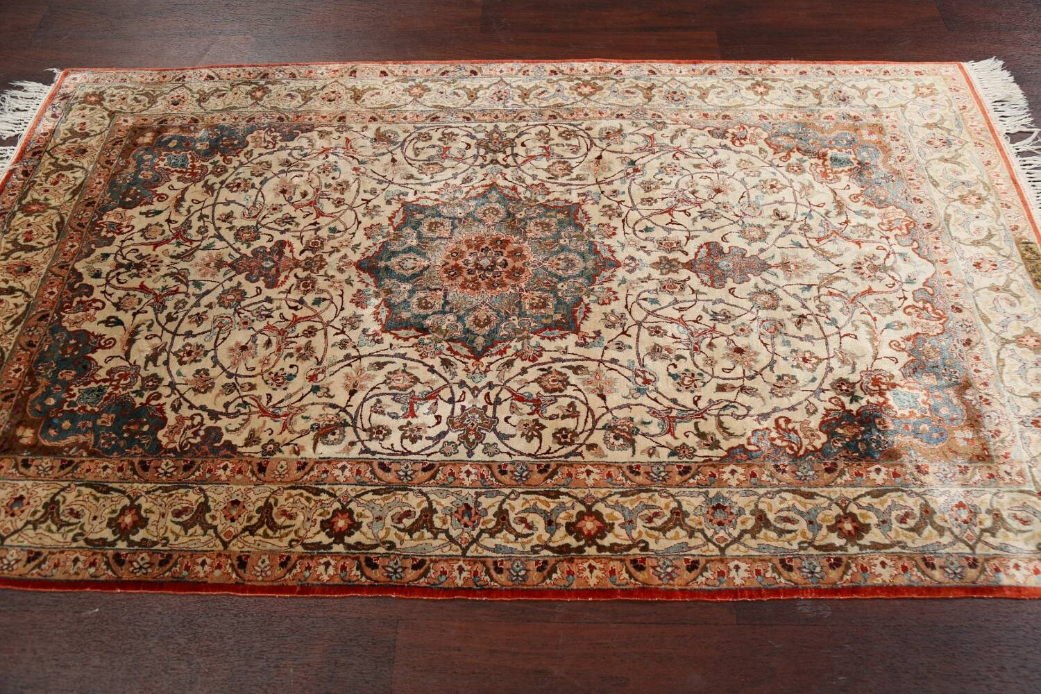 Antique 100% Vegetable Dye Isfahan Persian Area Rug 4x6 image 15