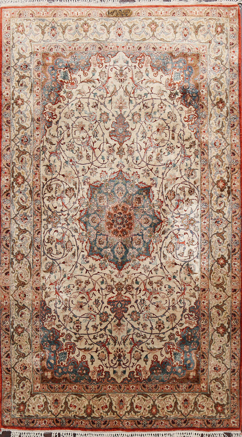 Antique 100% Vegetable Dye Isfahan Persian Area Rug 4x6 image 1