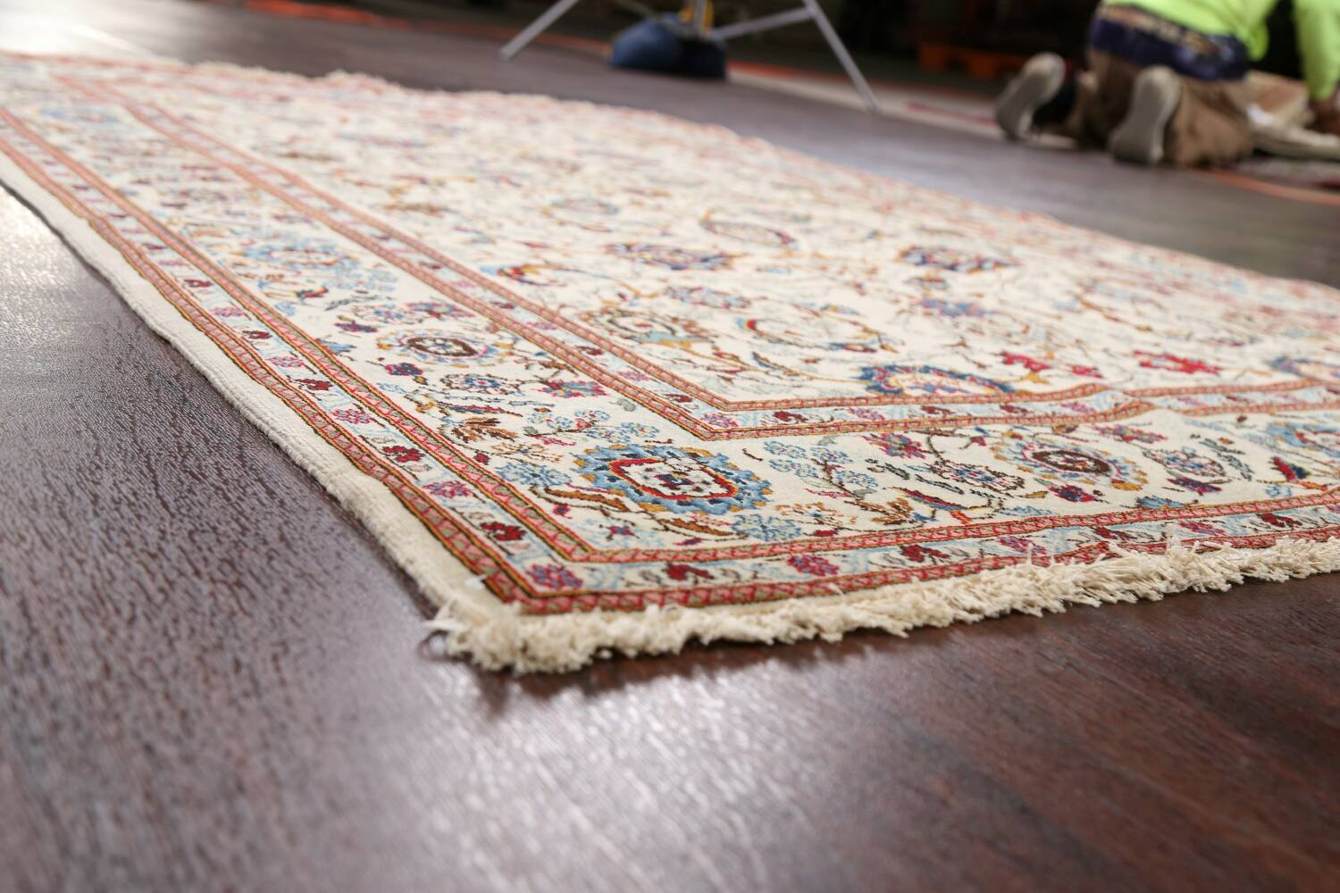 100% Vegetable Dye Floral Kashan Persian Area Rug 4x7 image 5