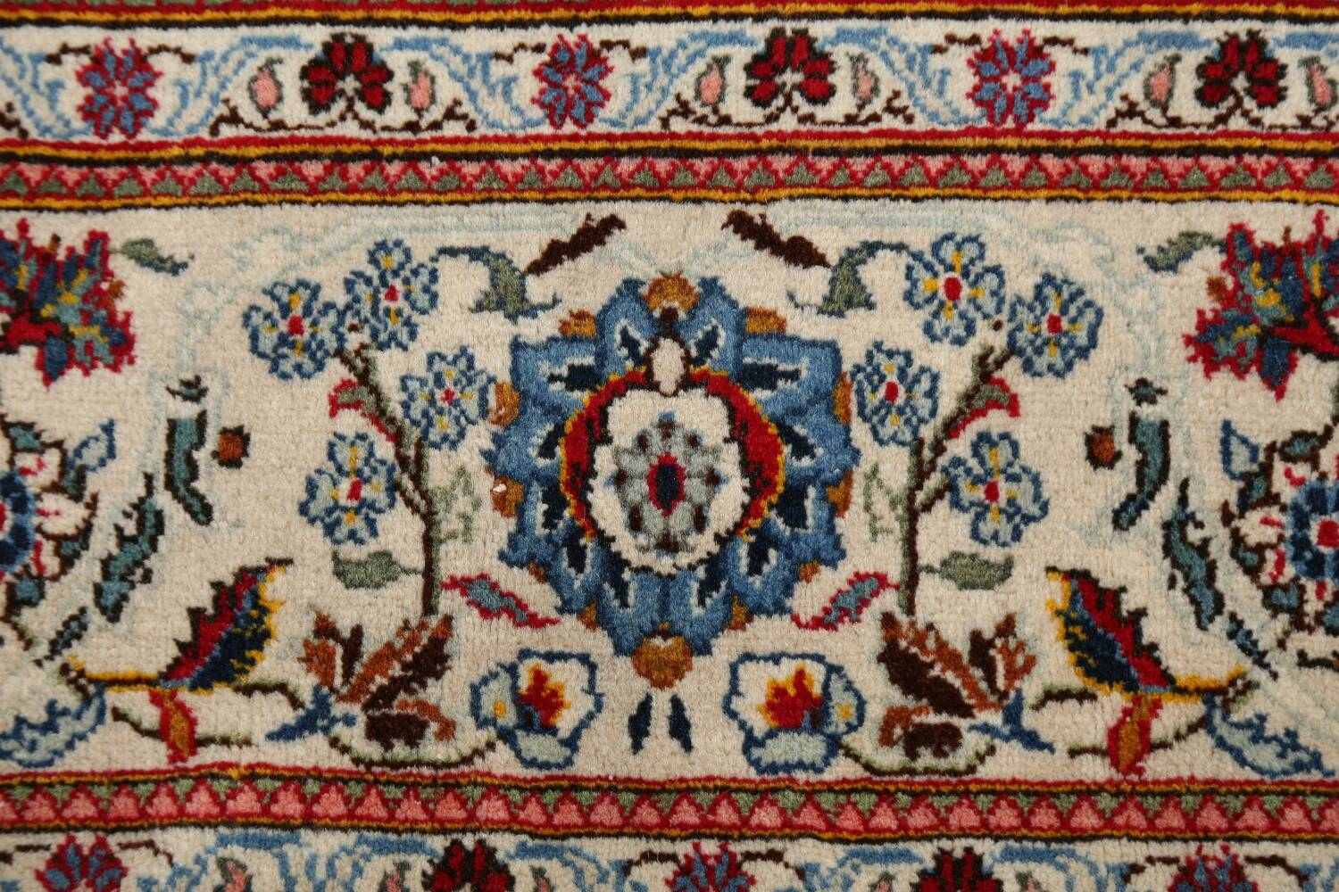 100% Vegetable Dye Floral Kashan Persian Area Rug 4x7 image 7