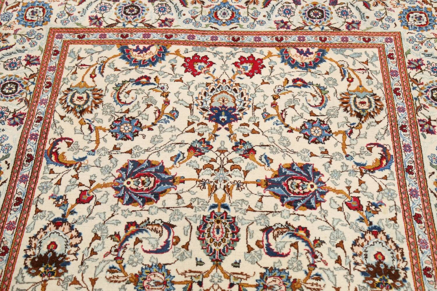 100% Vegetable Dye Floral Kashan Persian Area Rug 4x7 image 10