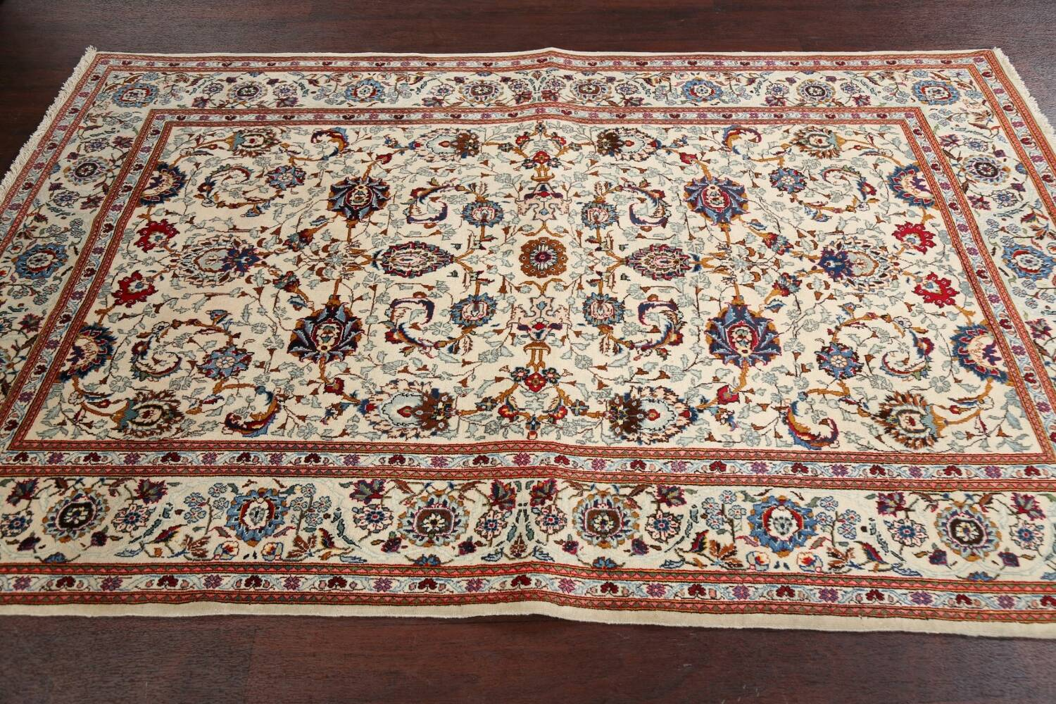 100% Vegetable Dye Floral Kashan Persian Area Rug 4x7 image 13