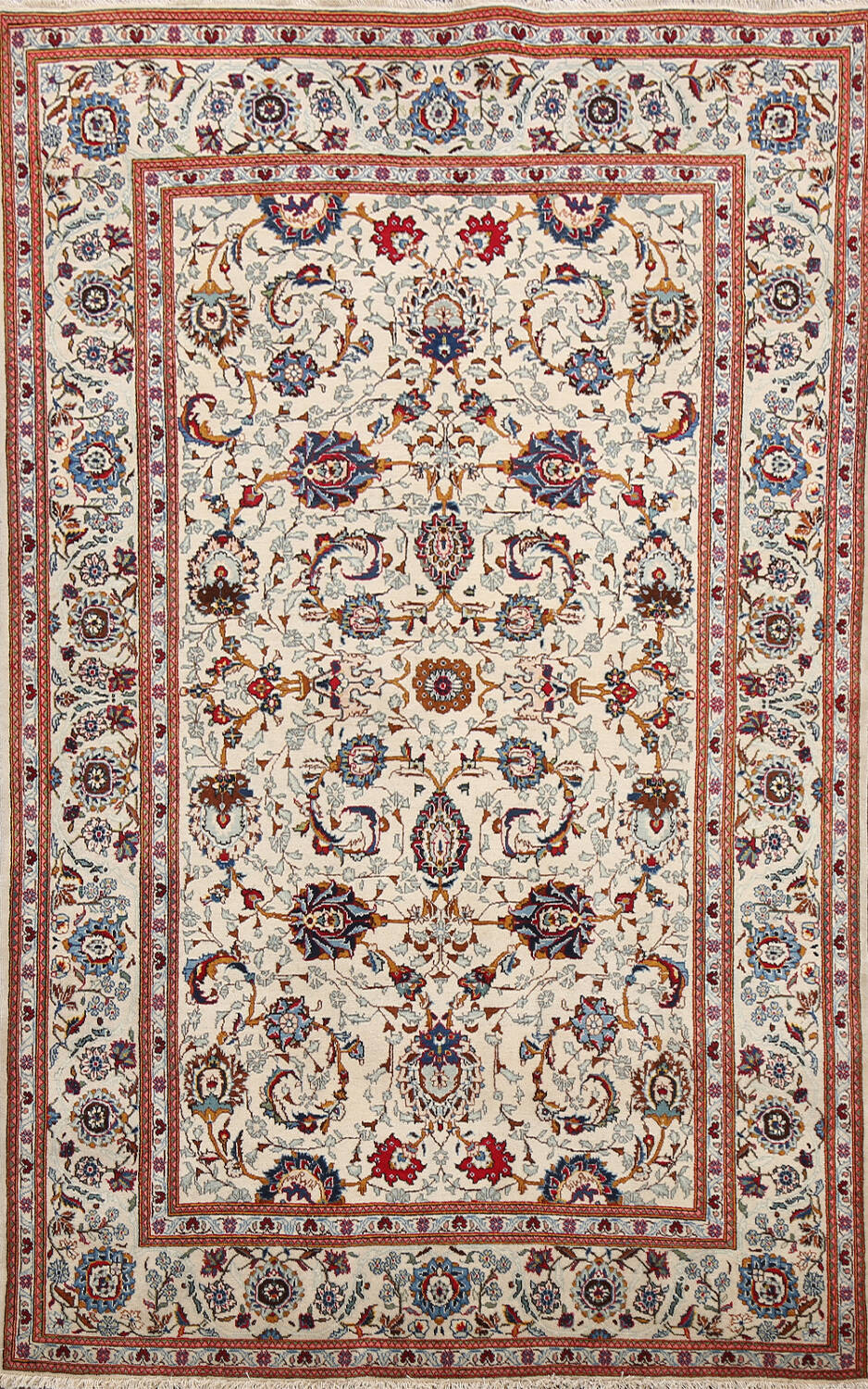 100% Vegetable Dye Floral Kashan Persian Area Rug 4x7 image 1