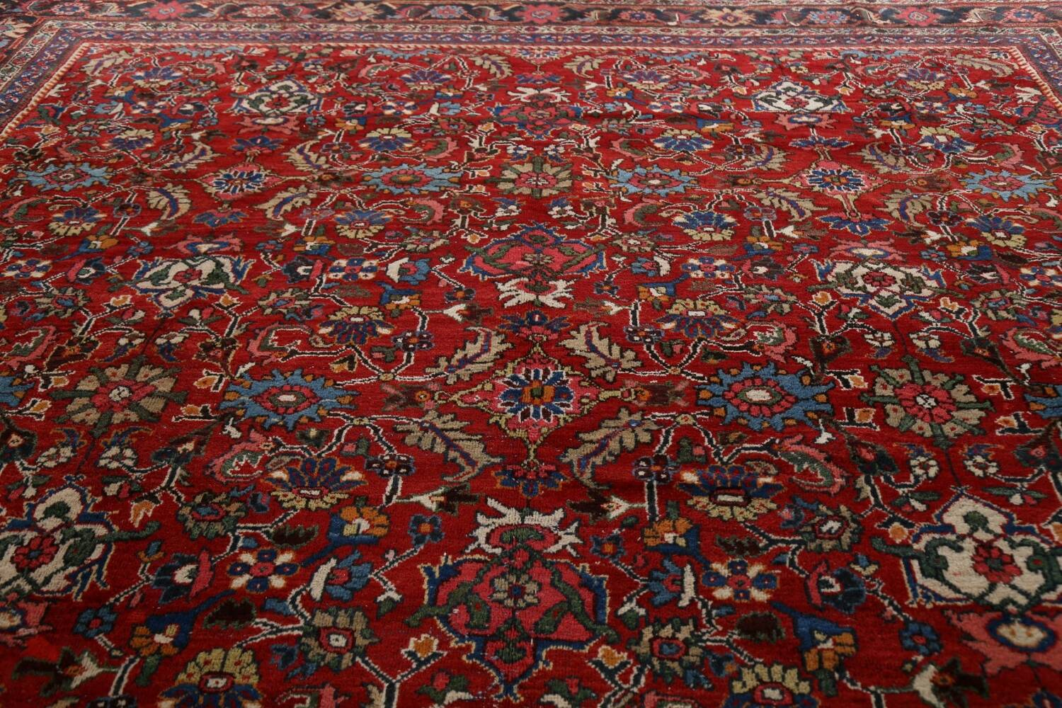 Antique 100% Vegetable Dye Sultanabad Persian Area Rug 12x17 image 12