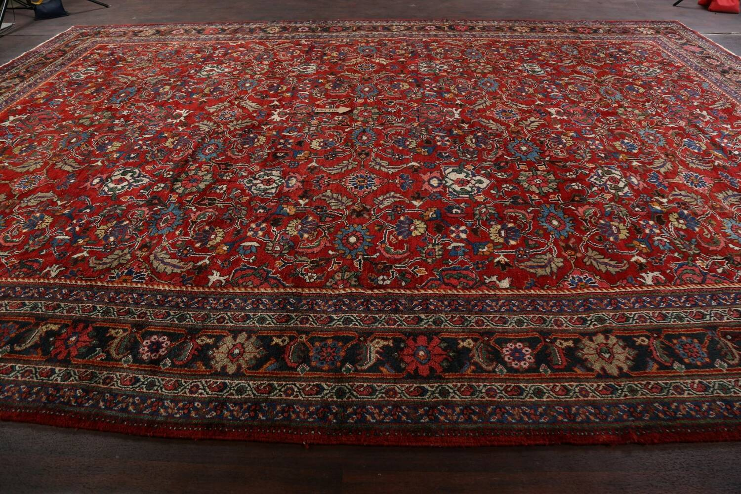 Antique 100% Vegetable Dye Sultanabad Persian Area Rug 12x17 image 14