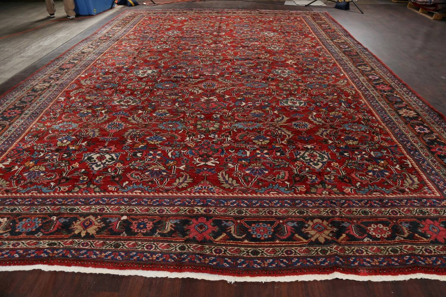 Antique 100% Vegetable Dye Sultanabad Persian Area Rug 12x17 image 18