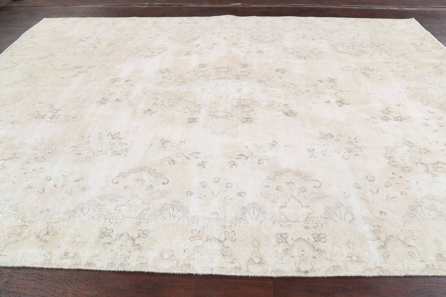 Muted Distressed Kerman Persian Area Rug 8x12 image 15