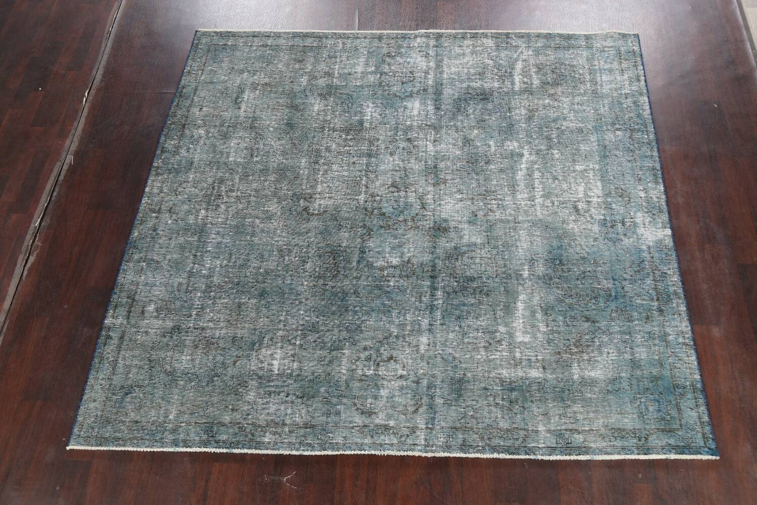 Distressed Over-dyed Tabriz Persian Area Rug 8x8 Square image 2