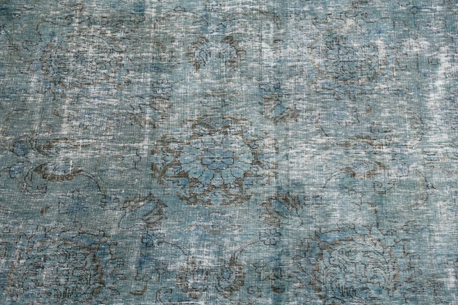 Distressed Over-dyed Tabriz Persian Area Rug 8x8 Square image 4