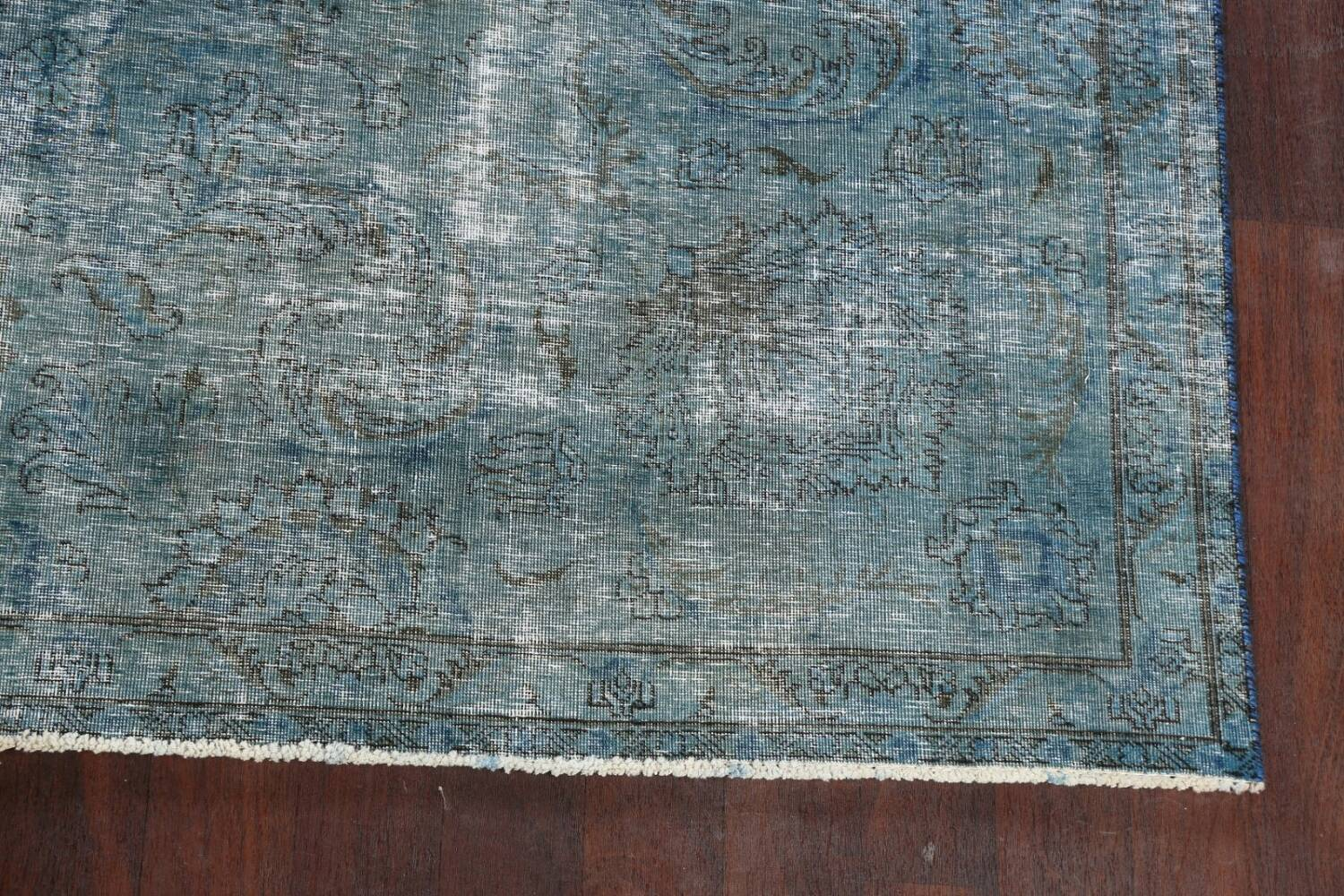 Distressed Over-dyed Tabriz Persian Area Rug 8x8 Square image 5