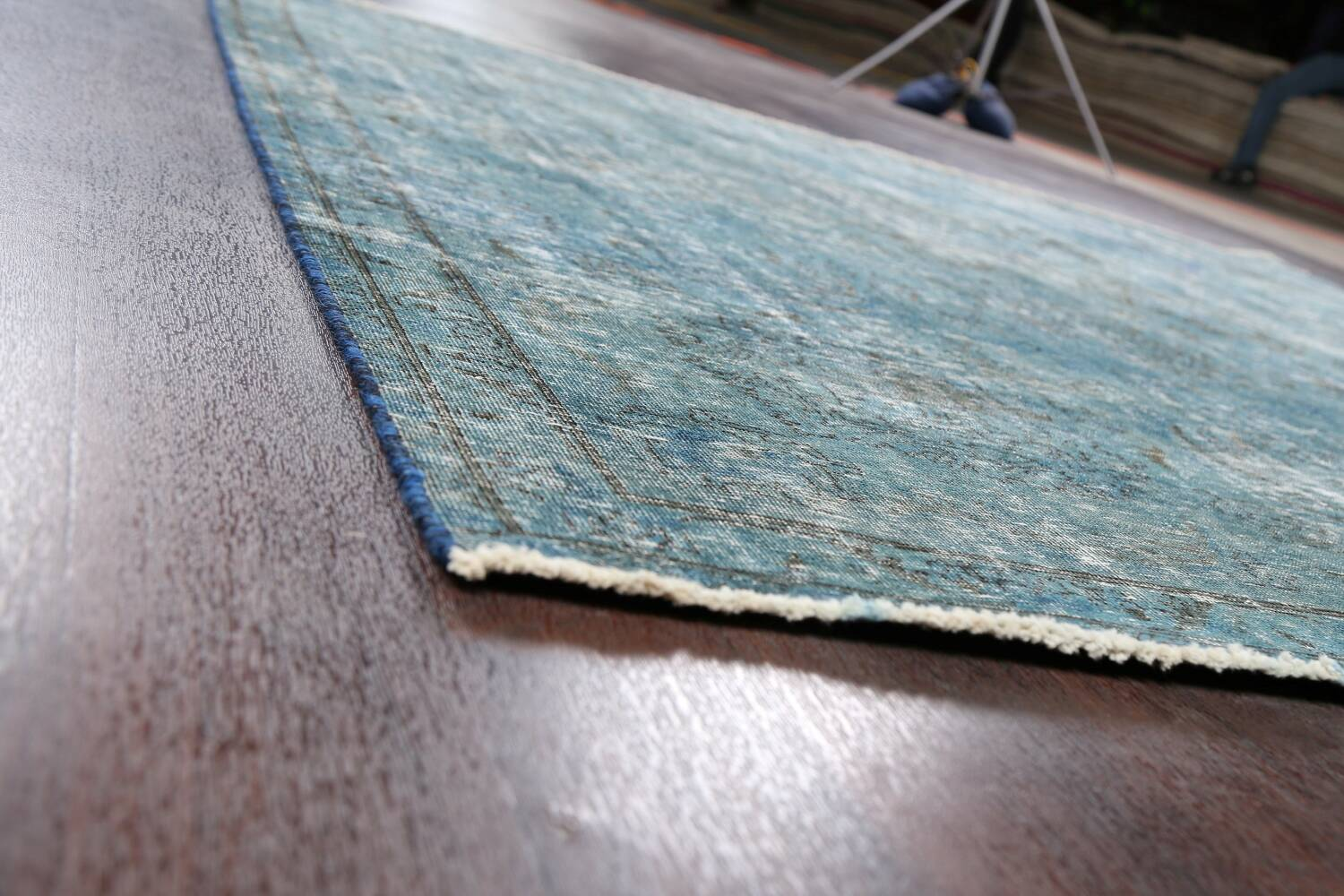 Distressed Over-dyed Tabriz Persian Area Rug 8x8 Square image 6