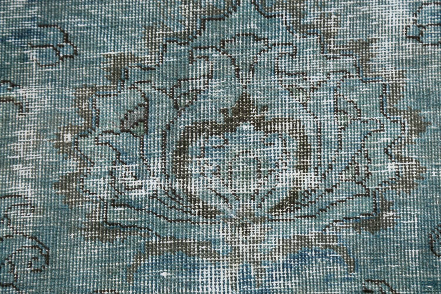 Distressed Over-dyed Tabriz Persian Area Rug 8x8 Square image 9