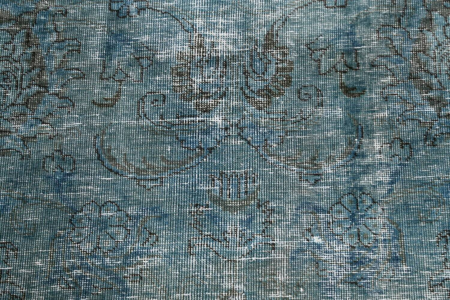 Distressed Over-dyed Tabriz Persian Area Rug 8x8 Square image 10