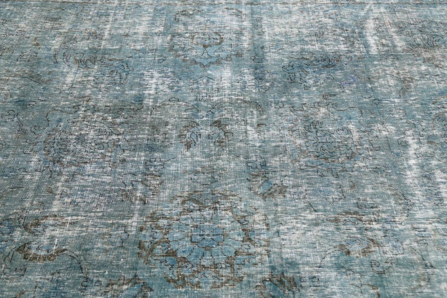 Distressed Over-dyed Tabriz Persian Area Rug 8x8 Square image 11