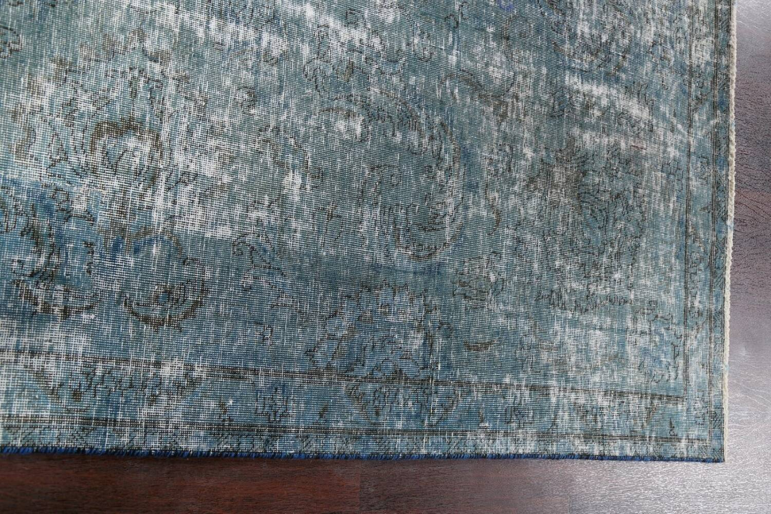 Distressed Over-dyed Tabriz Persian Area Rug 8x8 Square image 13