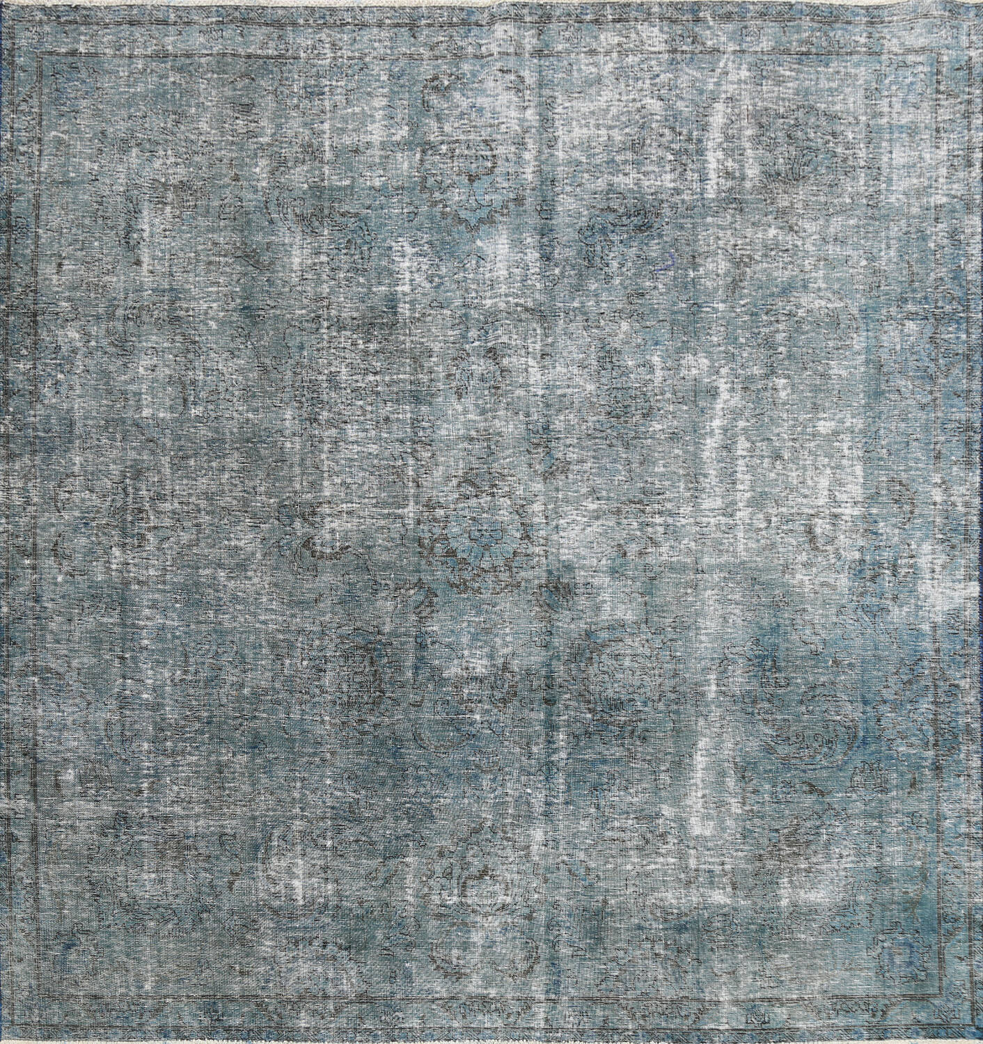 Distressed Over-dyed Tabriz Persian Area Rug 8x8 Square image 1