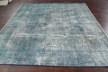 Distressed Over-dyed Tabriz Persian Area Rug 8x8 Square image 14