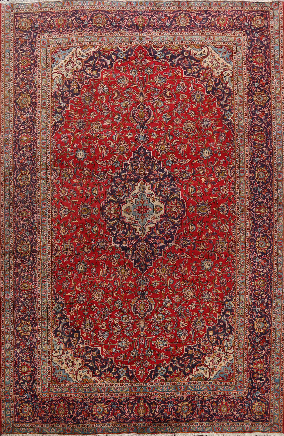 Traditional Floral Kashan Persian Area Rug 10x13 image 1