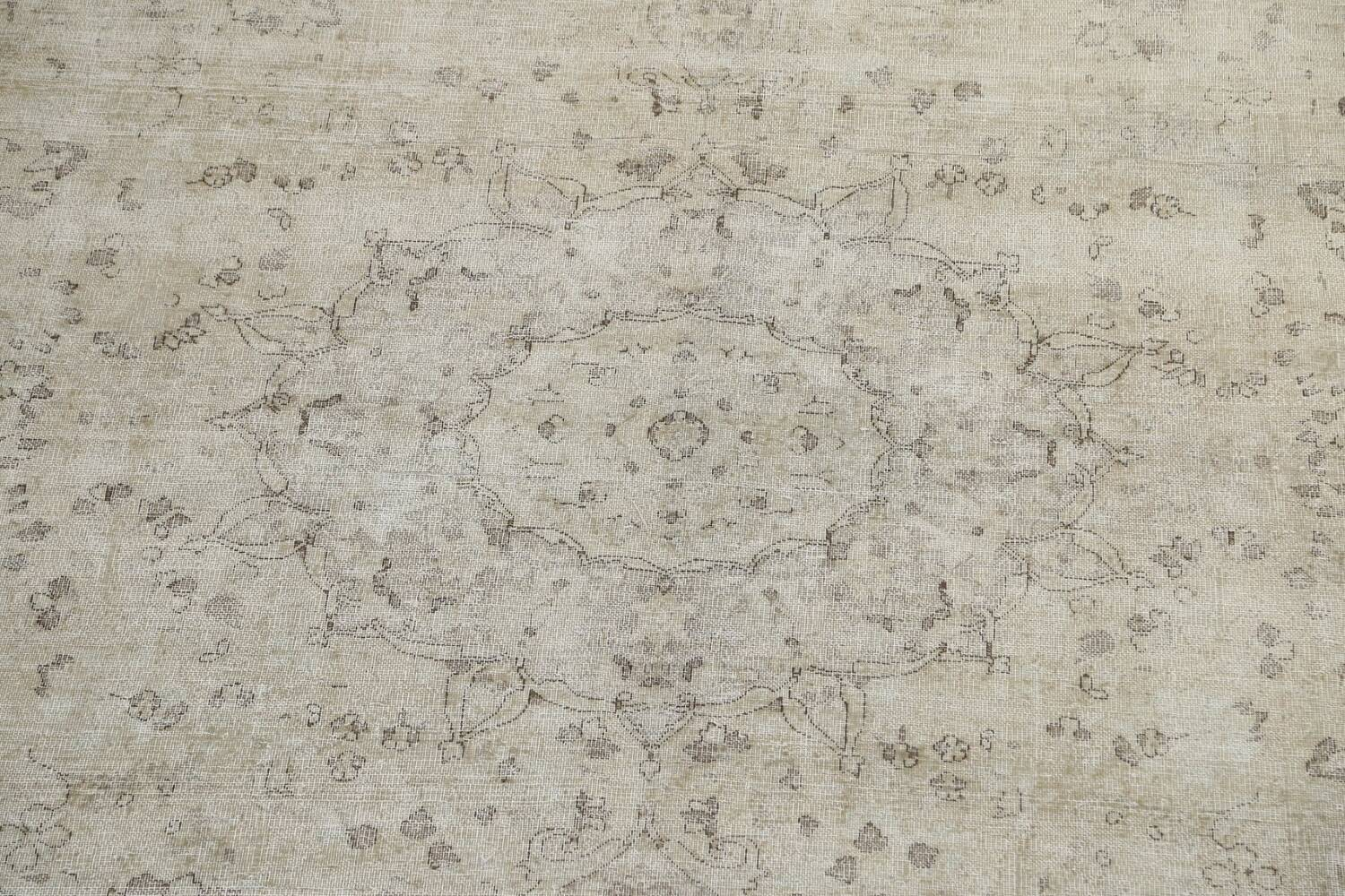 Muted Distressed Floral Tabriz Persian Area Rug 10x13 image 4