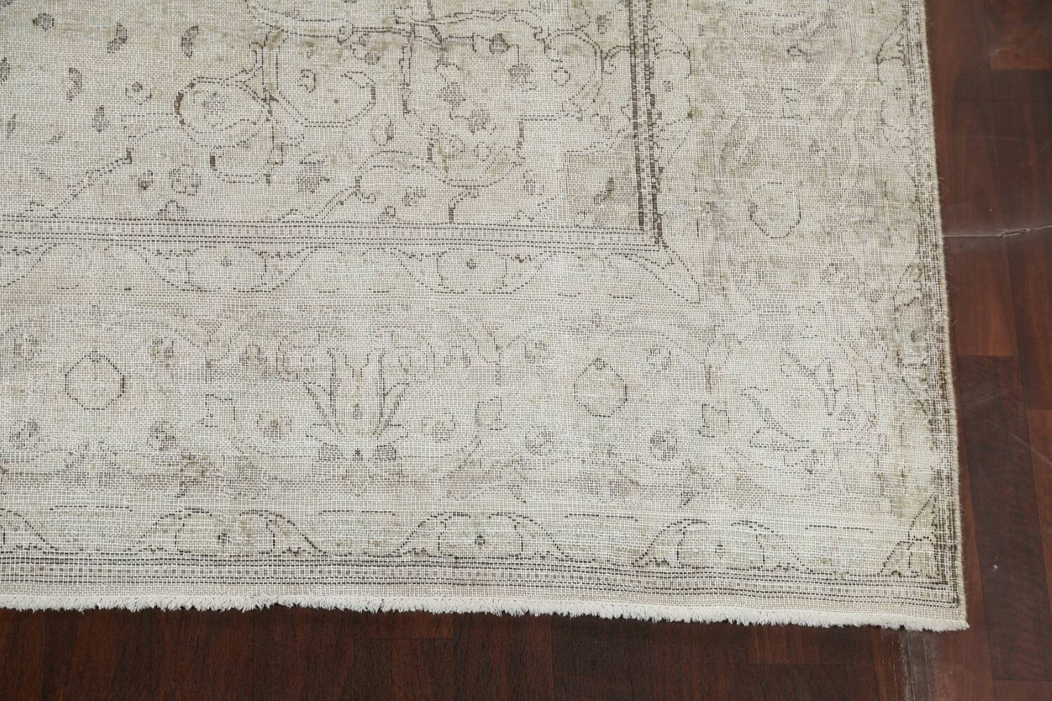 Muted Distressed Floral Tabriz Persian Area Rug 10x13 image 5