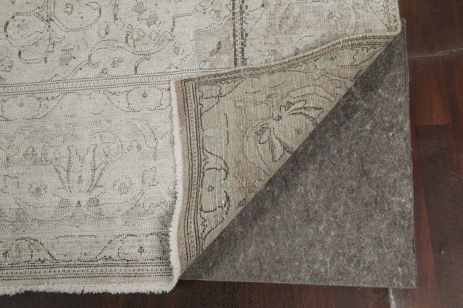 Muted Distressed Floral Tabriz Persian Area Rug 10x13 image 7
