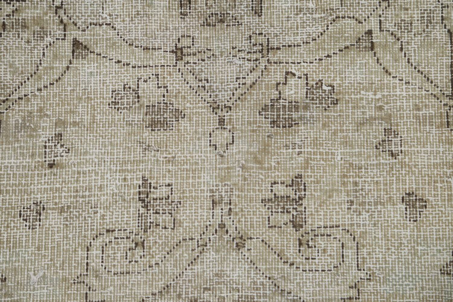 Muted Distressed Floral Tabriz Persian Area Rug 10x13 image 12